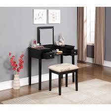 Bedroom Vanity Table Stool Flip Top Mirror Padded Cushion Seat Light ...