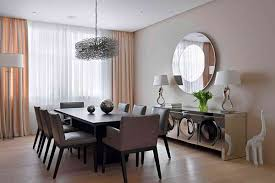 contemporary dining room mirror with elegant cream curtains with