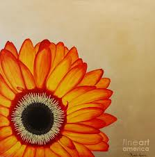 flower painting red and yellow gerbera daisy on silver leaf by michele harps