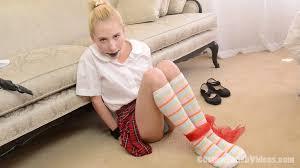 Damsel bound gagged with sock fetish