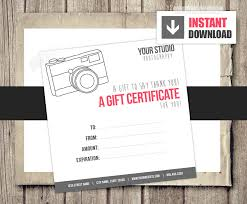 gift card template gift card gift certificate template for photographers camera