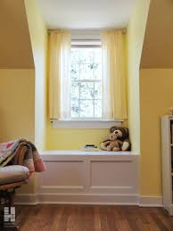 Built In Window Seat With Yellow Curtains Andracks And Storage