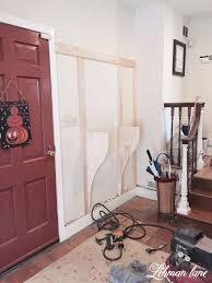 Diy Built In Storage Remodelaholic Diy Built In Entryway Table With Board And Batten