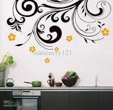 wall arts designs ideal black flower kitchen wall art stickers home design plus