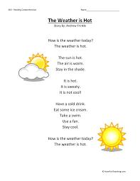 Comprehension Worksheet - Weather is Hot