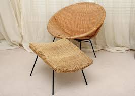 Mid Century Rattan Chair Round Hoop And Ottoman Wicker Furniture
