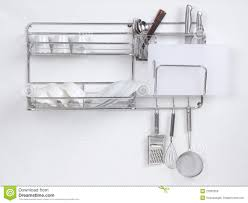 Stainless Shelves Kitchen Stainless Shelf With Kitchen Utensil Royalty Free Stock Image