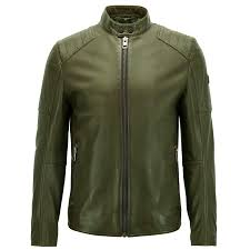 boss orange jaysee slim fit leather jacket in dark green