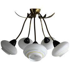 five light brass sputnik chandelier flush mount 1950s for