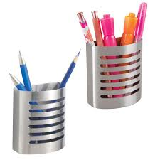 com mdesign modern metal l and stick adhesive pencil pen holder cup for wall locker office pack of 2 brushed stainless steel office