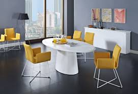 white modern dining room sets. Enchanting Modern Dining Room Set With White Laminate Oval Table And Yellow Fabric Chairs Metal Legs Sets