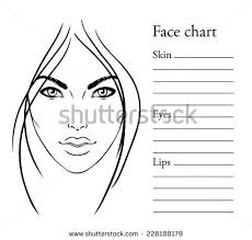 face chart makeup artist blank template vector ilration