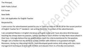 Teacher Cover Letter Example Application Letter For Teacher Job For Fresher Teacher