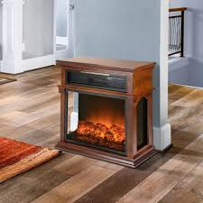 freestanding electric fireplace mantel heater in wooden brown with tempered glass logs and remote control
