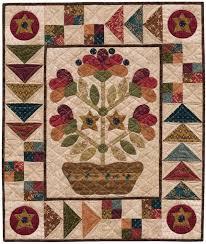 398 best Folk Art quilts images on Pinterest | Quilt patterns ... & Folk Art Dish Garden wall quilt pattern by Kim Diehl. Free with Kim's  applique freezer Adamdwight.com
