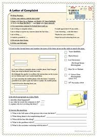 how to write a letter of complaint worksheet esl printable  how to write a letter of complaint