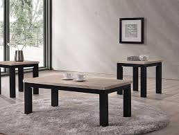 contemporary style in a tu tone grey wood finish 3 piece occasional table set
