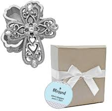 Cross Design Curio Box Favors Fashioncraft Cross Design Curio Boxes From The Heavenly Favors Collection For Religious Party Favors Baptism Gifts Christening Personalized Custom