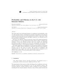 pdf profitability and efficiency in the u s life insurance industry