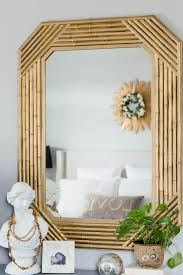 gold bamboo mirror. $15 Faux Bamboo Mirror Makeover | Gold Thrift Store DIY Bedroom Decor