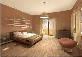 Beautiful and Elegant Asian Bedroom with Brown Wall Decoration