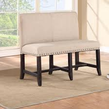 upholstered benches with backs black wooden legs nails head trim