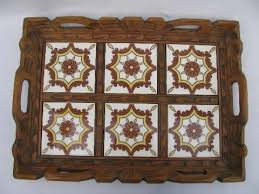 painted mexican furniturevintage Mexico carved wood tray w hand painted Mexican tiles