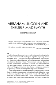 abraham lincoln and the self made myth springer inside