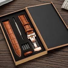 watchband 16mm 18mm 20mm 22mm 24mm calf genuine leather watch band alligator grain watch strap for tissot seiko