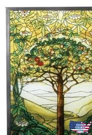 tiffany style tree of life stained art glass window panel wall hanging