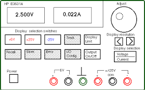 basics of power supplies use of hp e3631a the shaded switches will not be used in this write up these switches control the more advanced features built into the equipment consult the user s manual