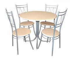 kitchen cool chrome metal armless chairs for 6 people and small round dining table round