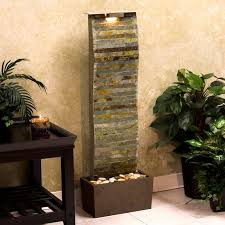 Ravishing Grey Wall Stones Pattern Small Indoor Water Fountains With Coral  Base As Well As Green Plants As Interior Gardening Ideas