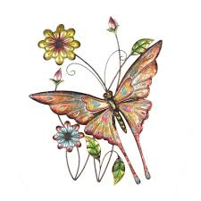 sunjoy butterfly and flowers iron outdoor wall art on outdoor wall art home depot with sunjoy butterfly and flowers iron outdoor wall art 110311005 the