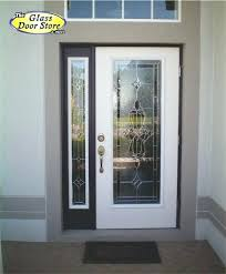 front door inserts a single front door with matching side window with a traditional glass door