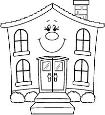 House Clipart Coloring Black White Clipartion Com