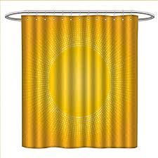 zojihouse yellow shower curtain collection by moden digital image of the sun with sunshine in cool circular pixels artwork patterned shower curtain w36 x