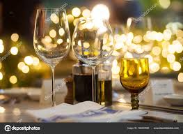 dinner table background. Blurry Background Of Wine Glass Set Up On The Table In Luxury Dinner Party. \u2014 Photo By Suwanphoto O