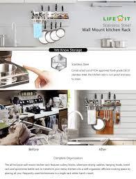 Kitchen Racks Stainless Steel Amazoncom Lifewit 6 In 1 Wall Mounted Pan Pot Rack Multi