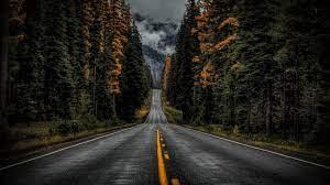 Dark blue : Dark Rainy Road Wallpaper