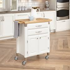 white stained wooden rolling kitchen cart with two drawer an