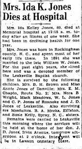 Obituary for Ida Kelley Jones (Aged 69) - Newspapers.com