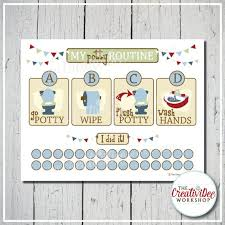 Potty Training Chart Printable Potty Chart Potty Routine Chart Blue Boy Theme Toilet Training Toddler Chart Instant Download