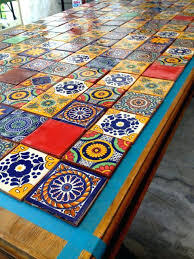 mexican tile table tiled table mexican tile table diy mexican tile wedding table numbers
