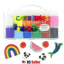 details about creatibles diy eraser kit with 12 pliable kneaded clay colors and reusable case
