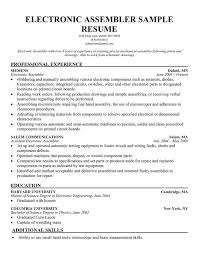 assembly line resume job description resume for electronic assembler assembly line job description 10 6