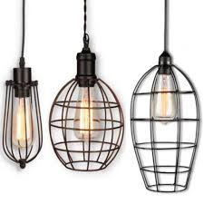 wire cage edison bulb swag lamp 5 7 w