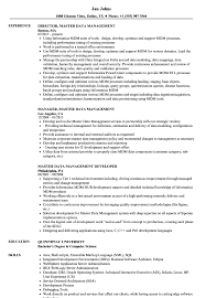 Master Data Management Resume Samples Velvet Jobs