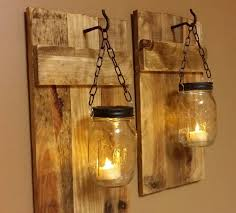 mason jar lighting diy. Outdoor Wall Lighting Ideas With DIY Hanging Mason Jar Candle Holders Wire And Reclaimed Wood Diy L