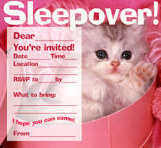 sleepover template free printable slumber party invitation template with kitten picture